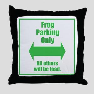 Frog Parking Throw Pillow