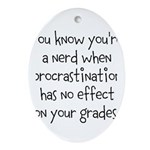 Procrastination Grade Ornament (Oval)
