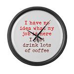 Coffee Job Large Wall Clock
