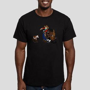 Cutting Horse Meeting Cow Men's Fitted T-Shirt (da