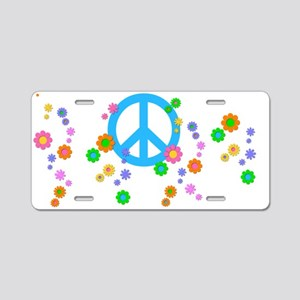 Peace sign and Flowers Aluminum License Plate