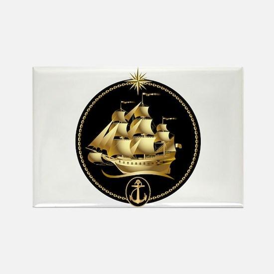 golden sailboat Rectangle Magnet (10 pack)