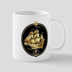 golden sailboat Mug