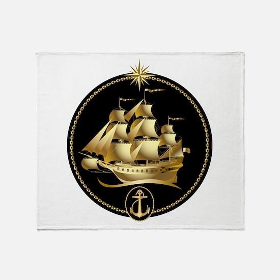 golden sailboat Throw Blanket