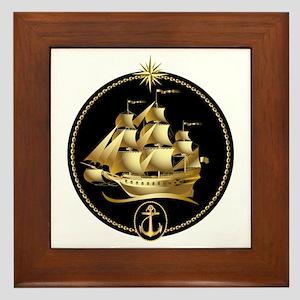 golden sailboat Framed Tile