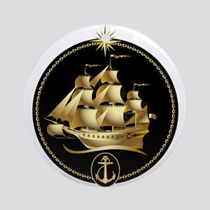 golden sailboat Ornament (Round)