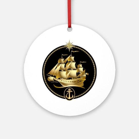 golden sailboat Ornament (Round)