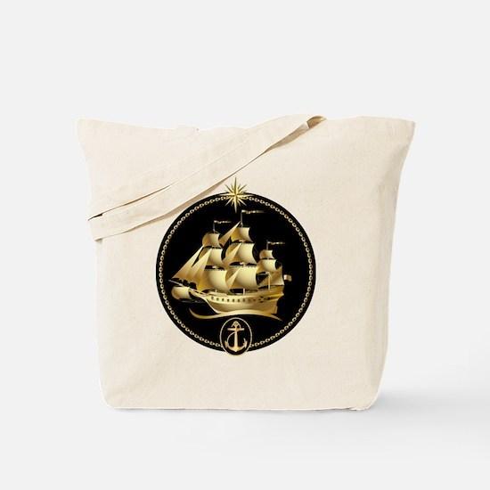 golden sailboat Tote Bag
