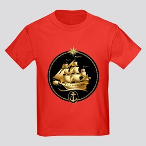 golden sailboat Kids Dark T-Shirt