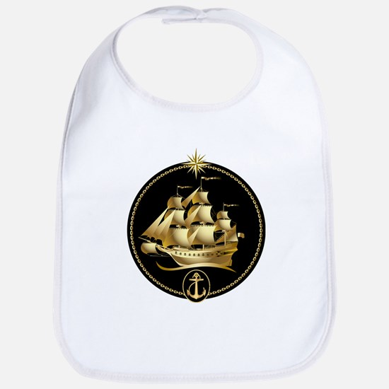 golden sailboat Bib