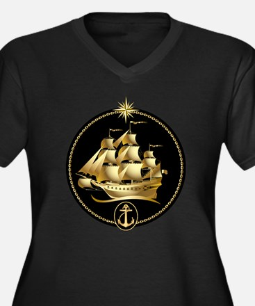 golden sailboat Women's Plus Size V-Neck Dark T-Sh