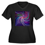 Perceptual Spiral Women's Plus Size V-Neck Dark T-