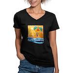 Parasailing in Mexico Women's V-Neck Dark T-Shirt