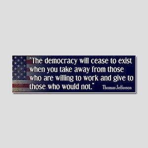 Jefferson Quote Democracy Car Magnet 10 x 3