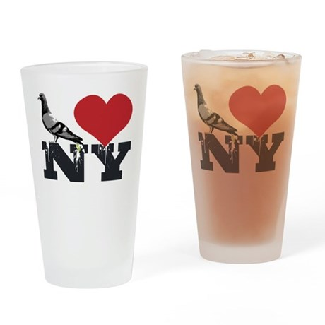 NY Pigeon Drinking Glass