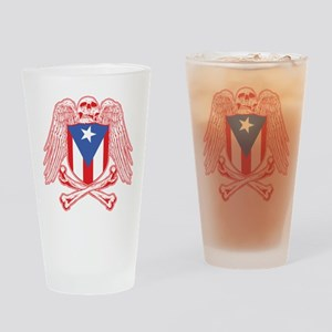 Puerto Rico Crossbones Drinking Glass