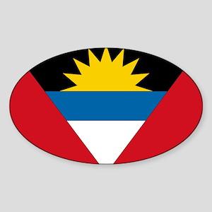 Antigua & Barbuda Flag Oval Sticker