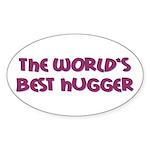 World's Best Hugger Sticker (Oval 50 pk)