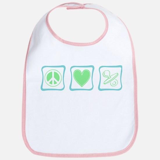 Peace, Love and Binkies (squa Bib