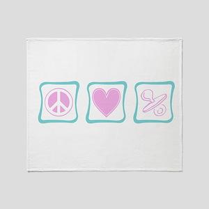 Peace, Love and Binkies (squa Throw Blanket
