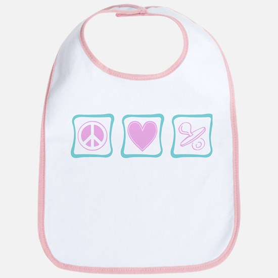 Peace, Love and Binkies (squa Bib