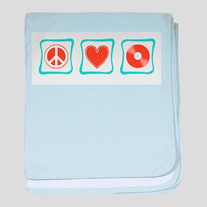 Peace, Love and Vinyl baby blanket