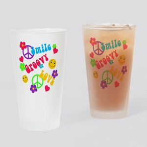 Smile Groovy Love Peace Drinking Glass