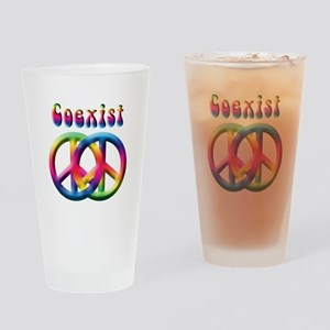 Coexist Peace Sign Drinking Glass