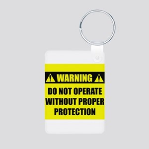 Do Not Operate Aluminum Photo Keychain