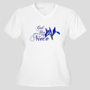God bless my Niece Women's Plus Size V-Neck T-Shir