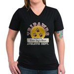 Tripawds Athletic Dept. Women's V-Neck Dark T-Shir