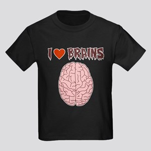 Zombie I Love Brains Kids Dark T-Shirt