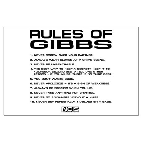 image about Ncis Gibbs Rules Printable List identify Gibbs Posters - CafePress