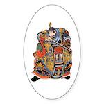Japanese Samurai Warrior Sticker (Oval)