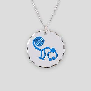 Nazca Monkey Sky Blue Necklace Circle Charm