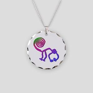 Nazca Monkey Groovy Colors Necklace Circle Charm