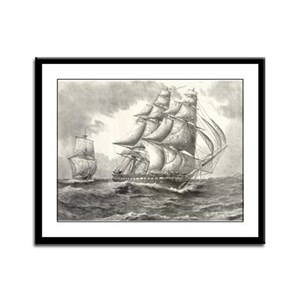 USS Constitution framed panel print