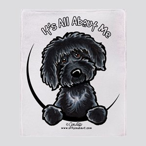 Black Labradoodle IAAM Throw Blanket