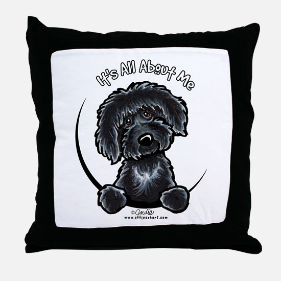 Black Labradoodle IAAM Throw Pillow