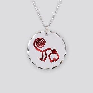 Nazca Monkey in Fire Red Necklace Circle Charm
