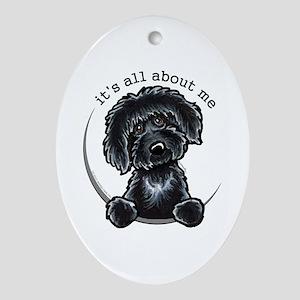 Black Labradoodle IAAM Ornament (Oval)
