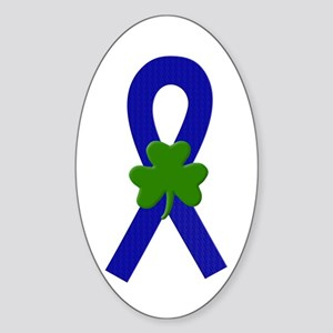 Blue Shamrock Ribbon Sticker (Oval 10 pk)