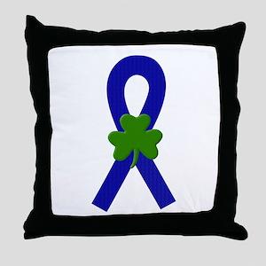 Blue Shamrock Ribbon Throw Pillow