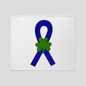 Blue Shamrock Ribbon Throw Blanket