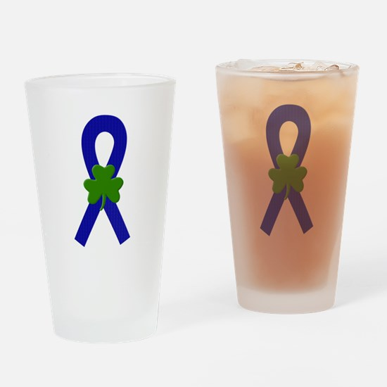 Blue Shamrock Ribbon Drinking Glass
