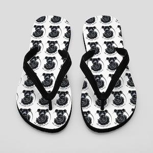 Black Labradoodle IAAM Flip Flops