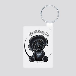 Black Labradoodle IAAM Aluminum Photo Keychain