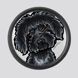 Black Labradoodle Funny Large Wall Clock