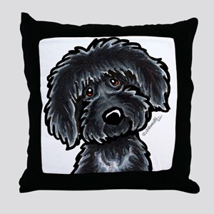 Black Labradoodle Funny Throw Pillow