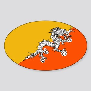 Flag of Bhutan Oval Sticker